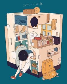Uploaded by Find images and videos about art, anime and anime girl on We Heart It - the app to get lost in what you love. Comics Illustration, Illustrations, Aesthetic Art, Aesthetic Anime, Bg Design, Isometric Art, Arte Pop, Anime Scenery, Cute Drawings