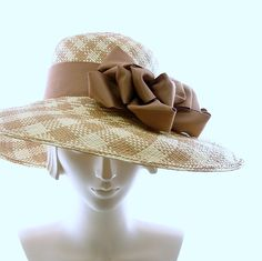 Plaid Panama Straw Hat for Women  Wide Brim by TheMillineryShop, $255.00