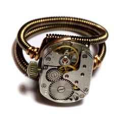Steampunk watch movement ring by CatherinetteRings