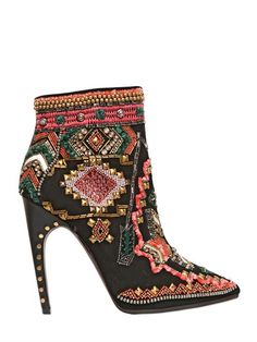 Emilio Pucci Suede Embriodered Ankle Boot. Wow!
