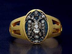 Russian Imperial Eagle ring by Faberge gold, diamonds and guilloche enamel given by Empress Maria Feodorovna 1915.