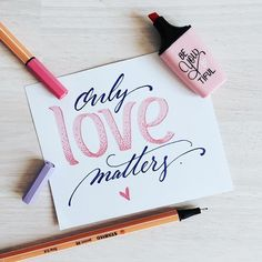 only love matters - handlettering Hand Lettering Quotes, Doodle Lettering, Creative Lettering, Brush Lettering, Calligraphy Letters, Typography Letters, Caligraphy, Handwritten Typography, Stabilo Point 68