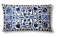 Vallejo 14 x 24 Pillow, Navy | embroidered cotton cover, poly/feather insert | made in India | solid back | Designed by Divine Designs exclusively for One Kings Lane | 200.00 retail | 95.00 OKL