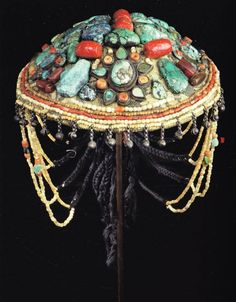 India - Chief Lama's Ceremonial Hat, Ladakh, Early-mid 20th century. This is one of the many images included in the publication Ethnic Jewellery and Adornment: Australia, Oceania, Asia, Africa (Adelaide and Melbourne, 2009).
