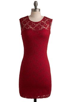 Ruby Blooms Dress - Red, Solid, Crochet, Cutout, Lace, Party, Sheath / Shift, Sleeveless, Mid-length, Cocktail, Girls Night Out, Bodycon / B...