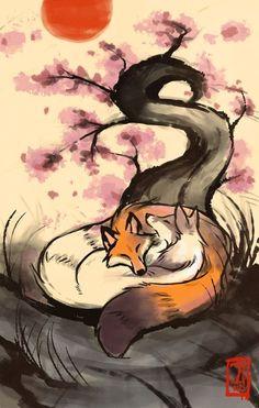 Cuddle Up by =Lhuin on deviantART Art And Illustration, Fuchs Illustration, Fantasy Kunst, Fantasy Art, Animal Drawings, Cool Drawings, Drawing Animals, Fox Art, Japanese Art