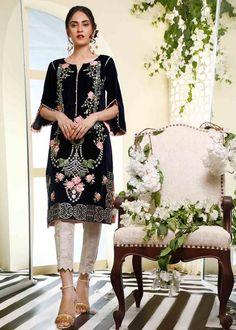 Velvet Shawl, Stitch Shirt, Embroidery Suits Design, Thing 1, Short Shirts, Pakistani Dresses, Blue Fabric, Traditional Dresses, 1 Piece