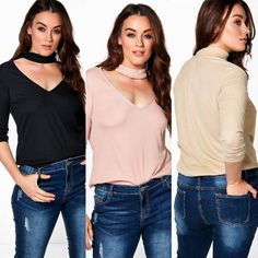 TKM1016D15P90P24 Plus Size Choker Top, $21.90