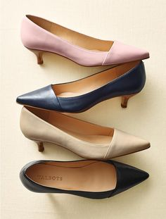 Tan Kitten Heel Pumps