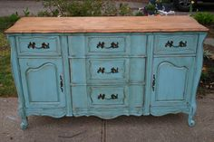 this sideboard was given a thorough sanding and the top was stripped using citristrip, painted furniture, woodworking projects, Turquoise Distressed French Sideboard