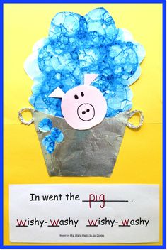 Based on Mrs. Wishy-Washy, the children choose their favorite animal from the story to collage in a tub of bubbles with this One-and-Done project. Read one book one day, do one project and you're done! ($)
