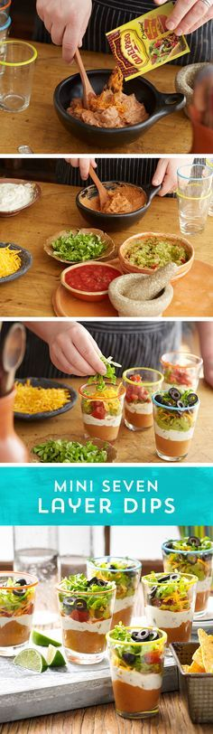 Ready for a new twist on a classic party dip? Try these Mini Seven Layer Dips at your next party!
