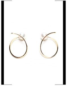 18k gold loop earrings with a pearl at end, by Tasaki.