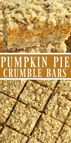 Pumpkin Pie Crumble Bars.