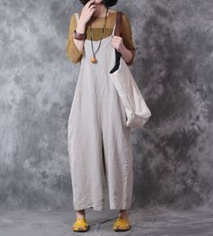 2017 Latest Fashion Plus Size Linen Overalls Wide Leg Korean Jumpsuits    #fashion #casual #loose #wideleg #linen #overalls #jumpsuits #rompers #cool