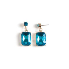 It doesn't get more vivid than the Haven earrings. This vibrant drop pair features shimmering prong set circular and rectangular aqua crystals.  Haven's bright aqua is simply stunning against gold.  Find it on Splendor Designs