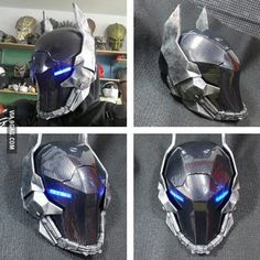 Just finished Arkham Knight Helmet, coated with carbon fiber. Connected to earphones and a microphone inside. I'm still working on the suit