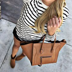 A cute stripe tee and my favorite shorts with booties! Starting to transition a…