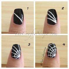 diy spider web nails