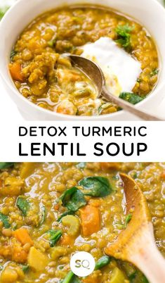 Detox Turmeric Lentil Soup , By Ayana Cashay . This Detox Turmeric Lentil Soup is a simple, healthy and hearty meal that's great. Lentil Soup Recipes, Easy Soup Recipes, Healthy Diet Recipes, Detox Recipes, Healthy Eating, Healthy Protein, Delicious Recipes, Tasty, Recipes Dinner
