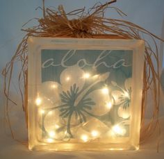 Lighted Glass Block blue aloha with hibiscus by BeachWineDesigns, $20.00