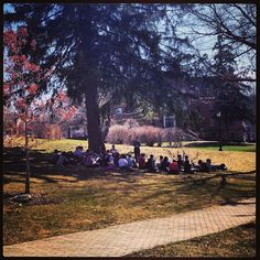 It's a beautiful day for class outside at AU! #alfredu