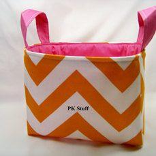 PK Fabric Basket in Tangerine Chevron With Raspberry by PKStuff, $14.50