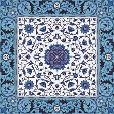 William Morris ~ Sunny Rug Tile ~ Blue and White  fabric by peacoquettedesigns on Spoonflower - custom fabric