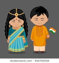 Imagens, fotos stock e vetores similares de Azerbaijanis in national dress with a flag. Man and woman in traditional costume. People Illustration, Flat Illustration, Children's Book Characters, Pioneer Gifts, Costumes Around The World, World Thinking Day, Felt Books, World Crafts, India Travel