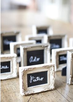 Oh So Beautiful Paper Wedding Stationery Inspiration: Chalkboard Details / Framed escort cards by Sandra Fazzino Photography via Style Me Pretty