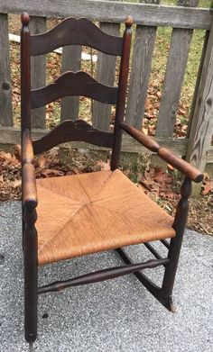 Antique Dark Wood Arched Ladder Back Style Rocking Chair Rush Seat