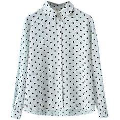 White Vintage Polka Dot Womens Chiffon Long Sleeves Blouse (310 ZAR) ❤ liked on Polyvore featuring tops, blouses, shirts, blusas, polka dot chiffon blouse, white chiffon blouse, long sleeve chiffon blouse, long-sleeve shirt and long sleeve blouse