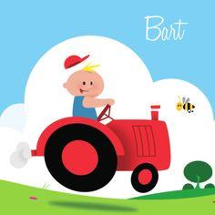 Rode tractor met jongetje in blauw shirt- Greetz