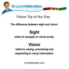 Difference between sight & vision LynnHellerstein.com #optometry #visiontherapy #developmentalvision