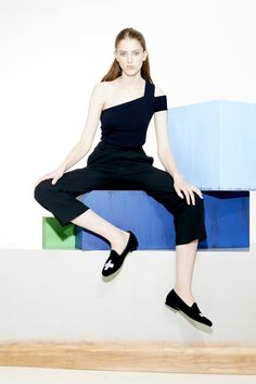 Tibi Resort 2016 look 20. A sleek one-shoulder top and trousers let statement shoes be an outfit's focal point.