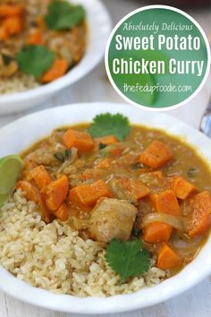 Healthy delicious comfort food at its best! This Sweet Potato Chicken Curry recipe is an easy weeknight meal your whole family will crave. #ChickenCurry #SweetPotatoCurry #ChickenSweetPotatoCurry #ChickenCurrywithSweetPotatoes #ChickenCurryRecipes #HealthyCurry #ComfortFood #SweetPotatoMeals Curry Recipes, Meat Recipes, Fall Recipes, Indian Food Recipes, Asian Recipes, Real Food Recipes, Chicken Sweet Potato Curry, Chicken Curry, Easy Homemade Recipes