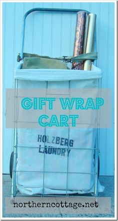 Gift Wrap Cart - portable storage for all your wrapping goodies! @NorthernCottage