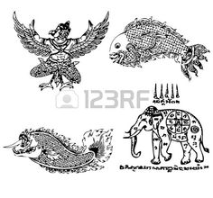 Thai Tattoo Ancient Vector template that elephant on my right hand