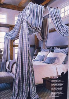 Blue and white check by Brunschwig & Fils on a Niermann Weeks canopy bed - Phillip Sides in Southern Accents