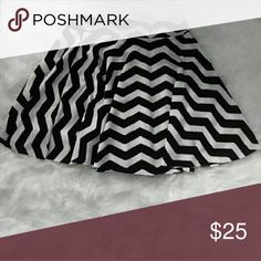 """Black and white skater skirt Skater skirt with elastic waist. And spandex like material.16"""" long Skirts Mini"""