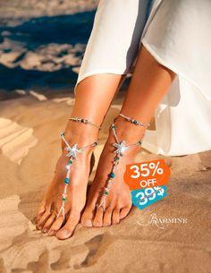 Starfish barefoot sandals, Something blue wedding jewelry, Beach wedding Barefoot Sandal, Wedding accessory, Footless sandals, Swarovski