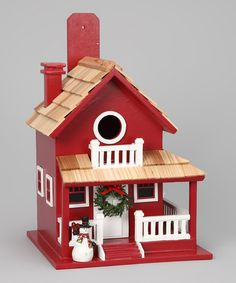 Take a look at this Home Bazaar Red Christmas Cabin Birdhouse by Welcome Home: Festive Doormats & Wreaths on #zulily today!