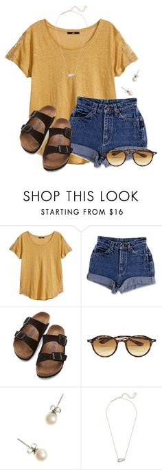 """QOTD: What are you doing for Valentine's Day?"" by flroasburn ❤ liked on Polyvore featuring H&M, Birkenstock, Ray-Ban, J.Crew and Kendra Scott"