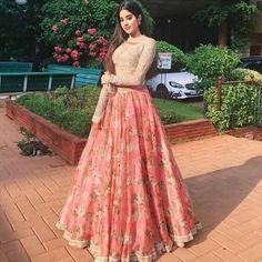 Glamp up with Janhvi Kapoor organzo print stylish croptop lehena Huge collection of Designer Lehenga, Designer Lehenga Blouse, Lehenga with Designer Blouse,Designer . Indian Prom Dresses, Indian Bridal Outfits, Indian Fashion Dresses, Dress Indian Style, Indian Designer Outfits, Abaya Fashion, Wedding Outfits, Wedding Couples, Fashion Outfits