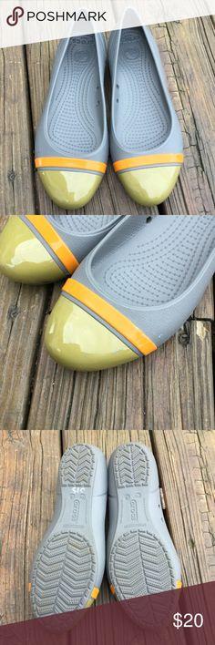 Crocks flats Grey yellow and orange rubbery crock flats CROCS Shoes Flats & Loafers