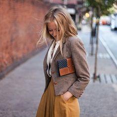 Pieces: Pleated skirt: mustard; Blazer: tweed; Button up shirt: white