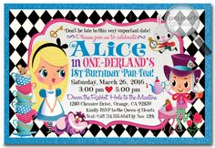 Alice in ONE-derland Tea Party 1st Birthday Invitations feature precious illustrations and each invitation is expertly hand-mounted onto gorgeous sparkly blue 120 lb card stock. Your guests will be thrilled to receive these beautiful Alice in ONEderland party invites!