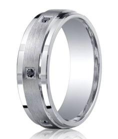 Mens Palladium Ring Argentium Silver with Palladium 950 Center Inlay Court 6mm
