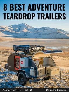 What to look for in a teardrop camper. Pros, cons and features of a small, lightweight travel trailer. Examples of the coolest teardrop trailers for sale. Adventure Trailers, Adventure Campers, Off Road Adventure, Adventure Travel, Teardrop Trailer For Sale, Teardrop Camper Trailer, Small Trailer, Cheap Trailers, Dog Travel