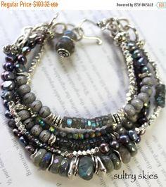 pearl bracelet labradorite bracelet grey bracelet by soulfuledges